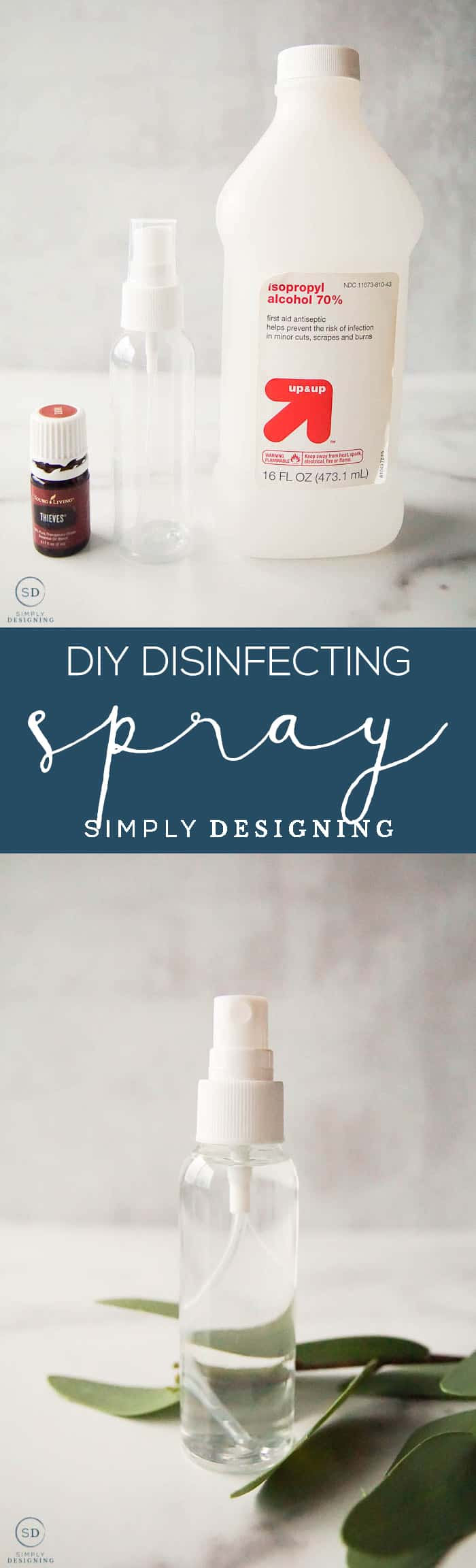 Learn how to make this DIY Disinfecting Spray so that you can easily disinfect doorknobs handles carts and so many other surfaces at home or on-the-go