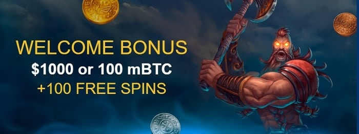 Welcome Bonus 100% up to $1000 or 100 mBTC and 100 FS