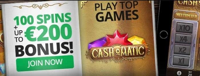 100 free spins and 100% bonus