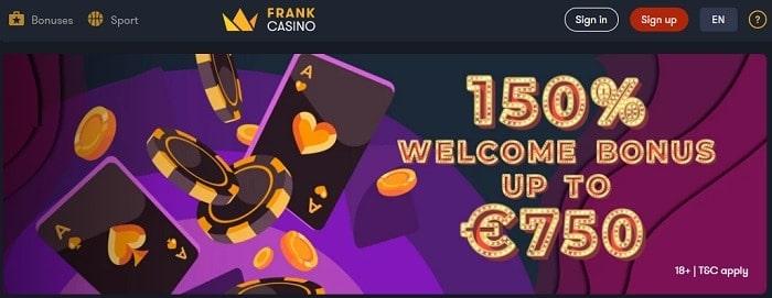 Frank 150% bonus