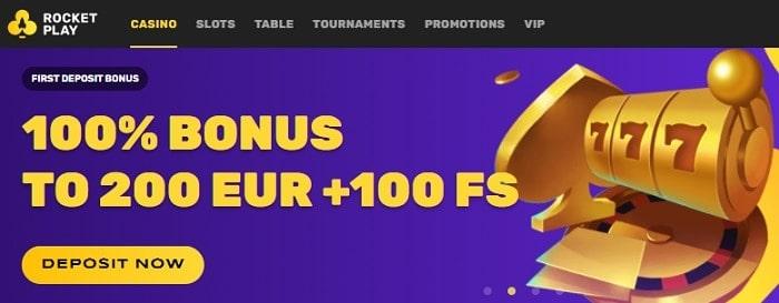 100 bonus and 100 free spins on first deposit