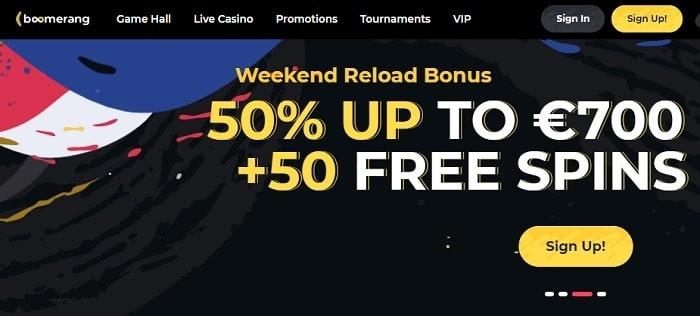 50% bonus + 50 gratis spins