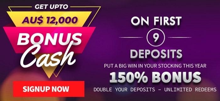 150% up to $1500 bonus on first deposit
