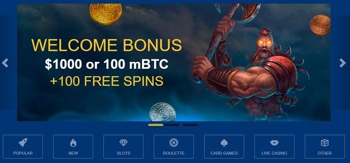 100% Welcome Bonus and 100 Gratis Spins