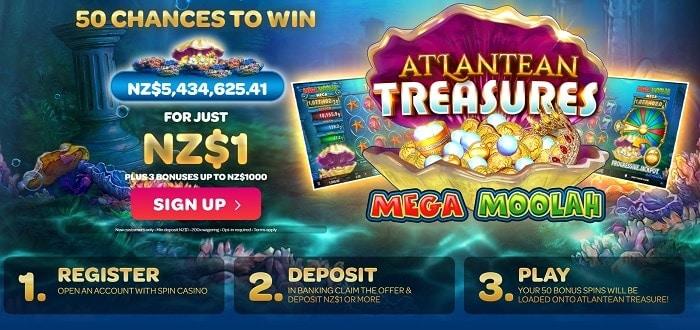 Get 50 free chances after $1 deposit!