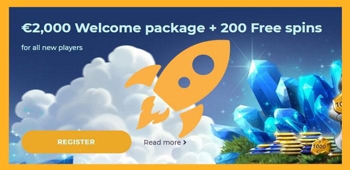 2000 EUR bonus and 200 free spins