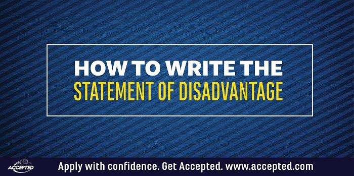 How to write the statement of disadvantage