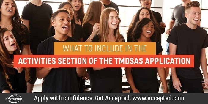 What to Include in the Activities Section of the TMDSAS Application