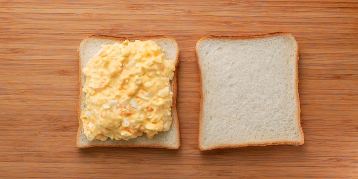 Japanese sandwich bread topped with egg salad.