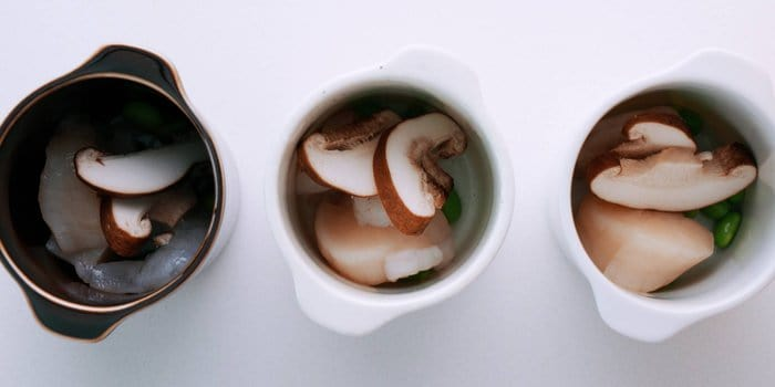 Add the mix-ins for your chawanmushi to heat-safe cups.
