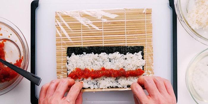 Spicy tuna on rice and nori.