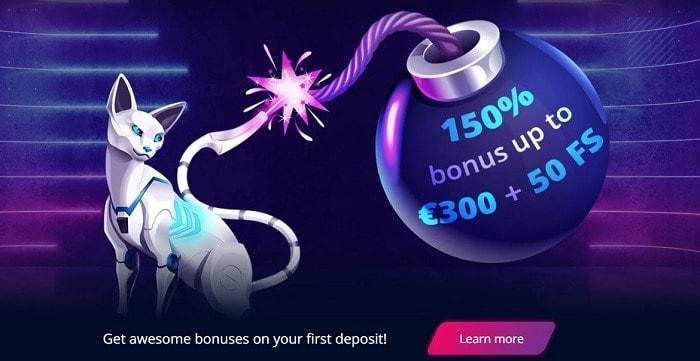 150% welcome bonus and 50 gratis spins