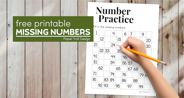 NUmber counting practice missing numbers worksheet with text overlay -free printable missing numbers