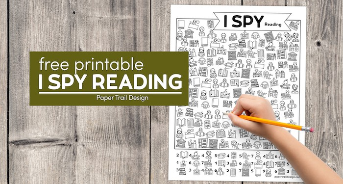 I spy reading activity page to print for free with kids hand holding pencil with text overlay- free printable I spy reading activty