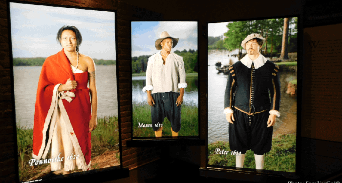 The museum at jamestown settlement has high-tech screens that bring history to life