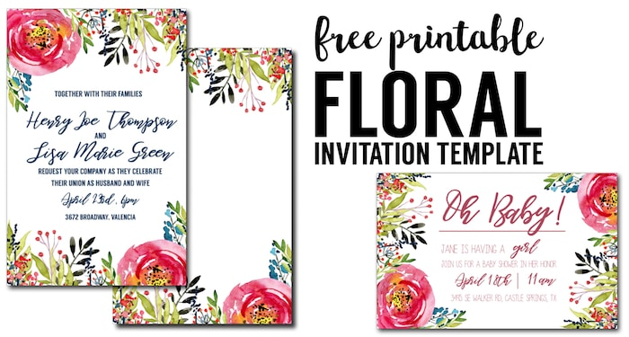 Floral Invitaion Template free printable. Free invitation template for a birthday party, wedding, bridal shower, baby shower or spring party. Free invitation templates.