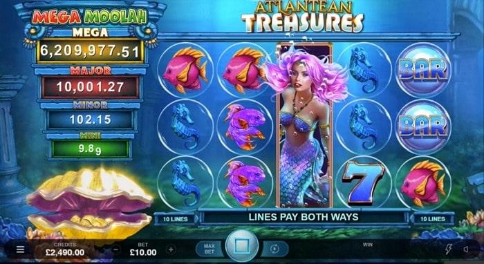 Atlantean Treasures jackpot and paytable