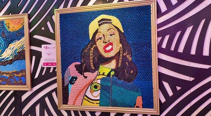 A portrait of Cardi B made out of candy
