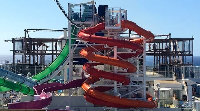 The getaways top decks have water slides and rope courses