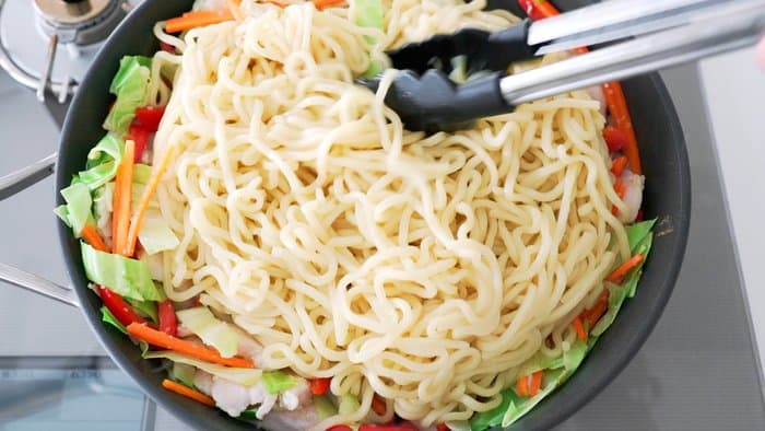Chow Mein noodles with stir fried vegetables.
