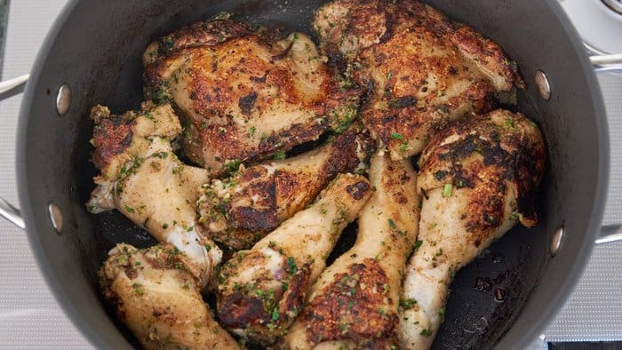 Browning the chicken for the Biryani brings out the flavors of the spices and aromatics in the marinade.