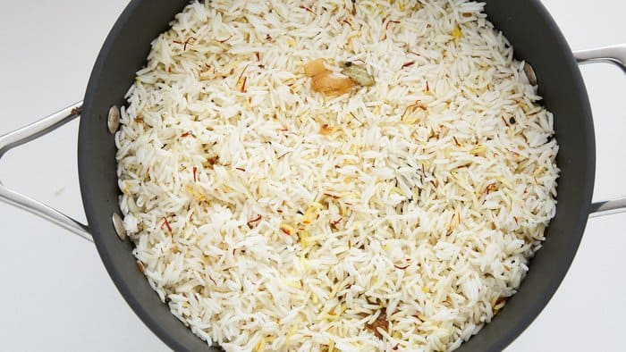 The Biryani is finished off with a layer of saffron rice.