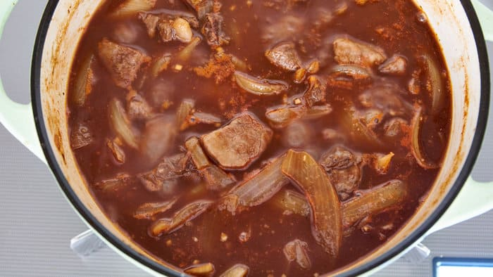 Japanese style beef stew (Hayashi Rice) simmer in dutch oven.