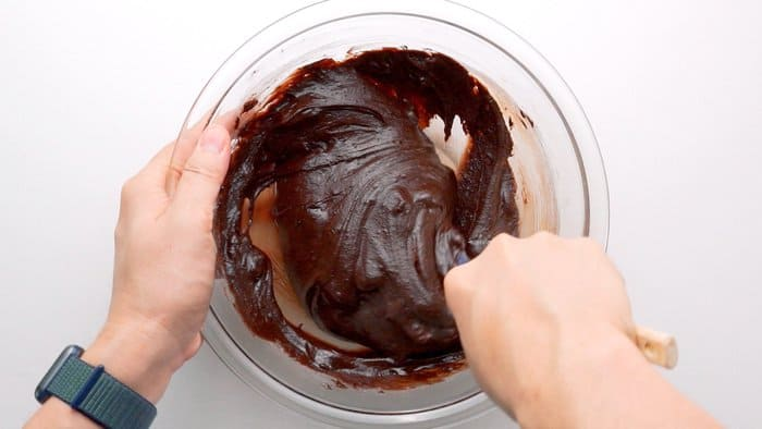 Chocolate Cherry Brownie batter in a glass bowl.