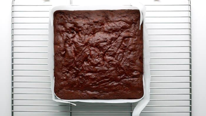 Chocolate Cherry Brownies cooling on a rack.