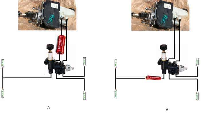 Brake layout schematic with residual valve and proportioning valve
