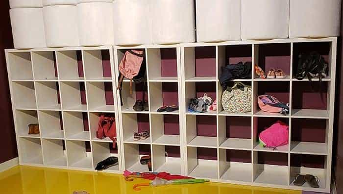 Cubbies for storing shoes and bags