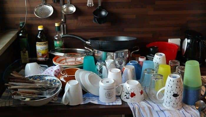 Vacations with family create a lot of dirty dishes