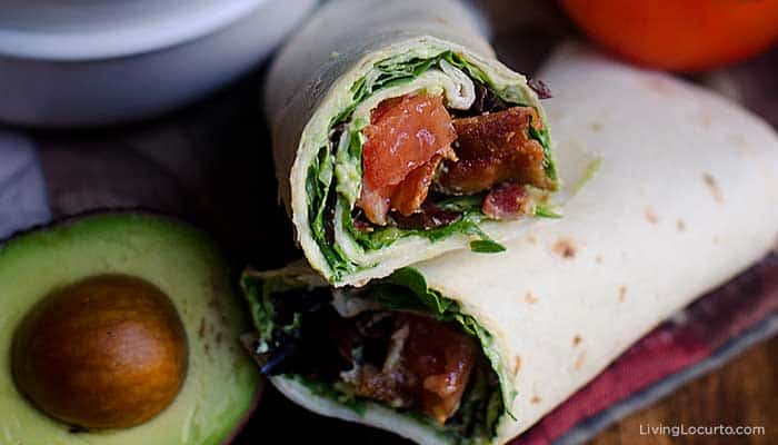 BLT wraps with easy homemade guacamole recipe.
