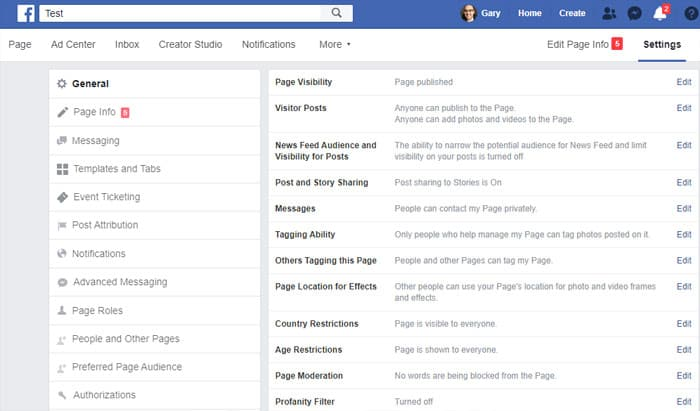 Facebook Business Page - configure settings