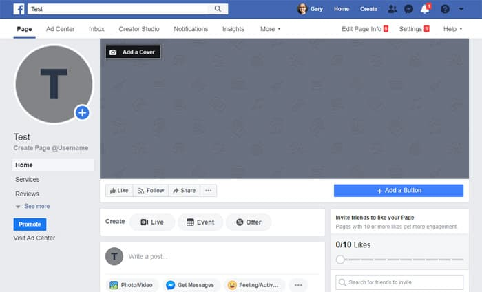 Newly Created Facebook Business Page