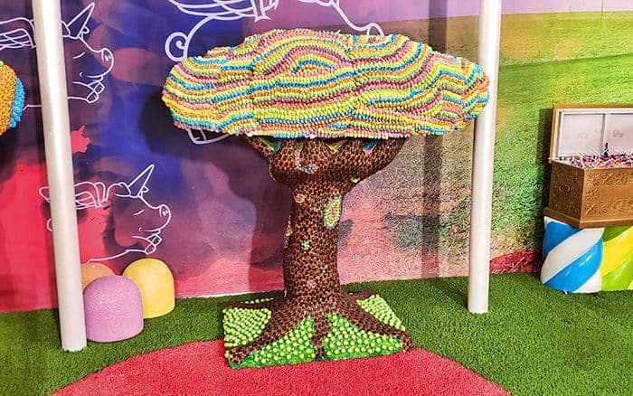 A colorful tree made out of candy