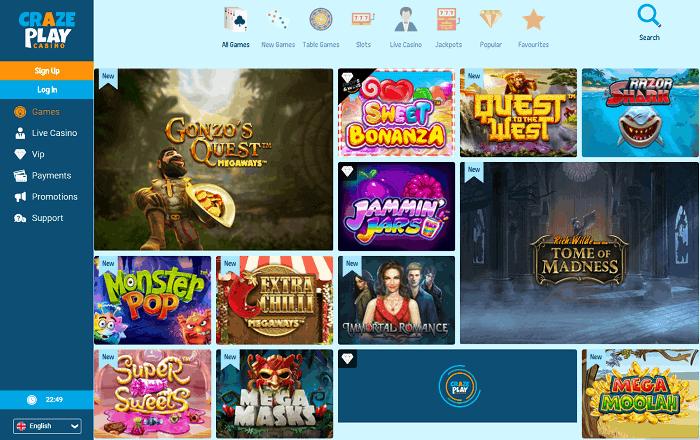 CrazePlay Casino website Review