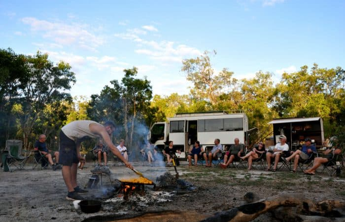 Campfire cooking on Gulf savannah tour
