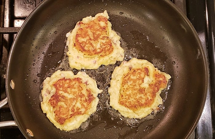 leftover mashed potatoes cakes in pan