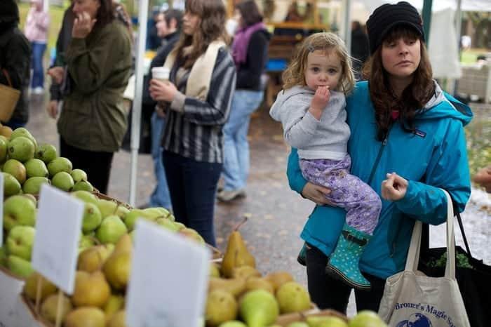 Sampling the fresh produce in portland