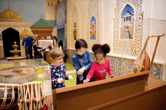 Kids learn about islam around the world in one of severl world culture exhibits cmom has mounted.