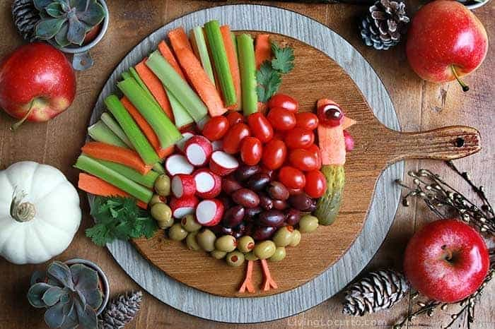 Easy Turkey Vegetable Tray recipe for Thanksgiving dinner. By Living Locurto