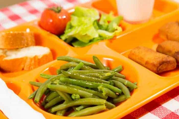 A tray of school cafeteria food