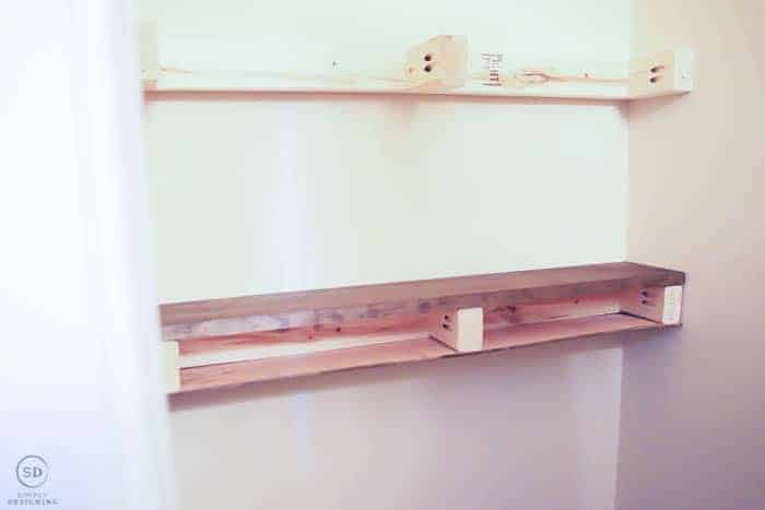 diy floating shelves - attach outside stained boards to inside brackets