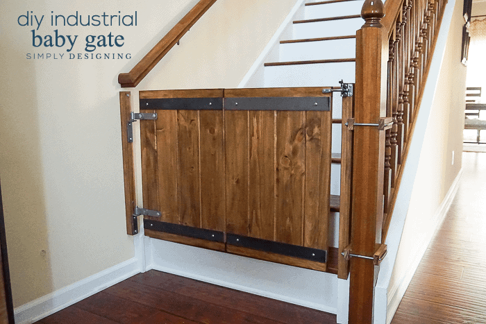 Industrial DIY Baby Gate finished, installed, shown closed
