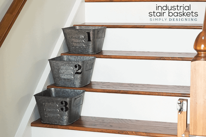 Numbered Industrial Stair Baskets