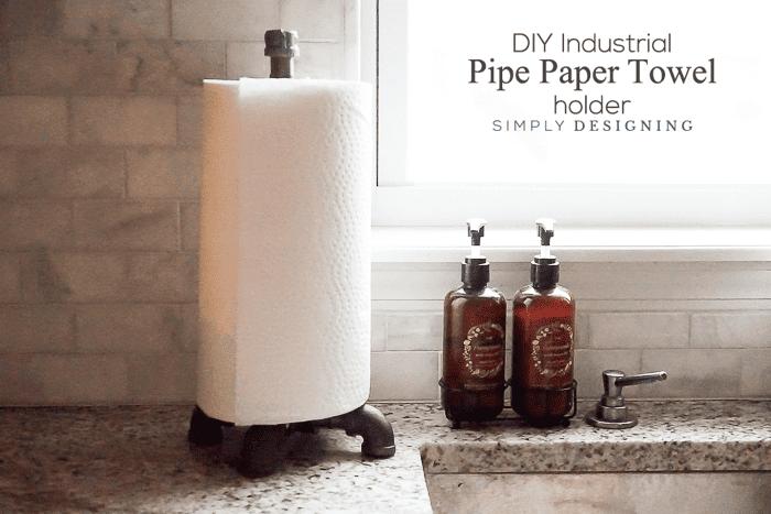 DIY Industrial Pipe Paper Towel Holder