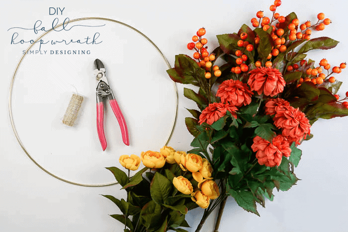 How to make a Fall Hoop Wreath - supplies needed
