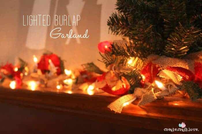 burlap diy christmas garland lit up on table