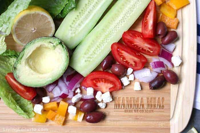 Baked Chicken Greek Salad with Avocado and fresh vegetables recipe.